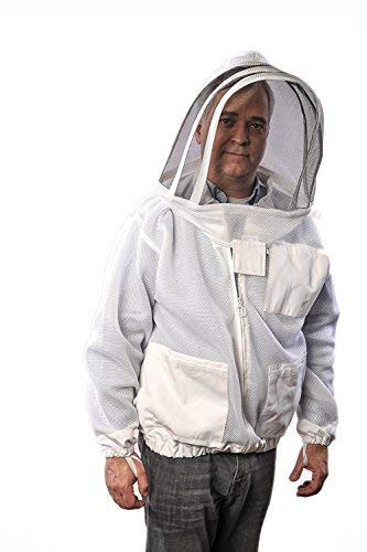 - Forest Beekeeping Supply Ventilated Jacket - Clear View Fencing Veil YKK Brass Zippers Ultra Light Weight & Maximum Protection Professional & Beginner Beekeepers (XL)