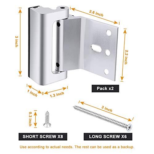 Home Security Door Lock, Childproof Door Reinforcement Lock with 3'' Stop Withstand 800 lbs for Inward Swinging Door, Upgrade Night Lock Double Protection Your Home (Silver-2 Pack) by Senignol (Image #2)