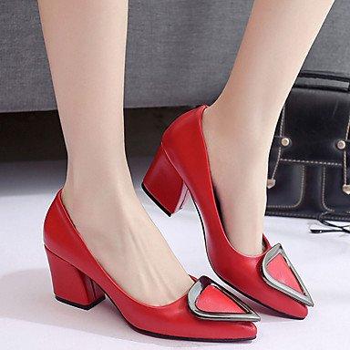 LvYuan Mujer Sandalias PU Primavera Verano Tacón Robusto Negro Gris claro Rojo 5 - 7 cms Black
