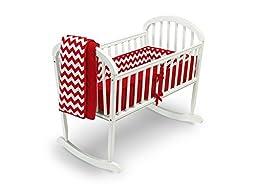 Baby Doll Bedding Chevron Cradle Bedding Set, Red