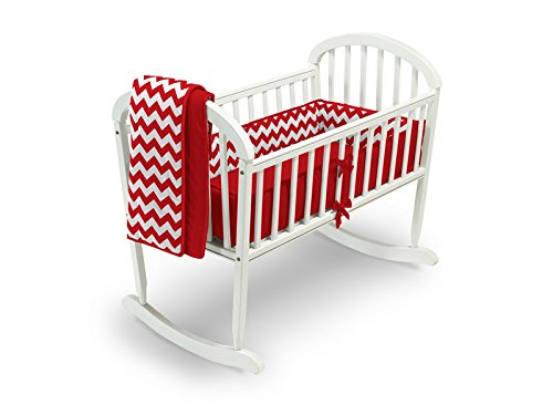 Baby Doll Bedding Chevron Cradle Bedding Set, Red by BabyDoll Bedding