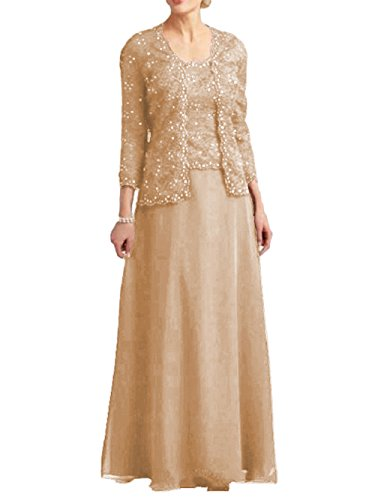 Dressyu Lace Beaded Mother of the Bride Dress Chiffon Formal Gown with Jacket Champagne US14