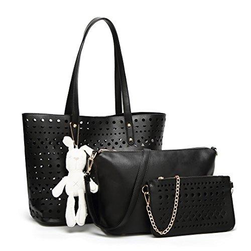 Black Leather Lulu Pouch Set Miss Purse Handbag Shoulder Pu Crossbody Soft 1829 Bag Hollow Fashion 3pcs 1pxxwZOT