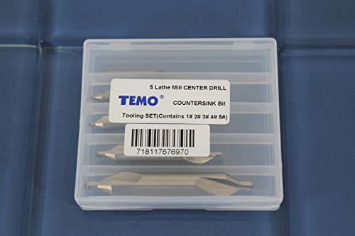 TEMO 5 pc Lathe Mill Combined Center Drill 60 degree Countersink (Sizes 1# 2# 3# 4# 5#)