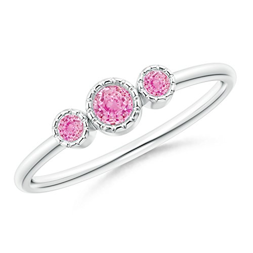 Bezel Set Round Pink Sapphire Three Stone Ring in Silver (3mm Pink Sapphire)