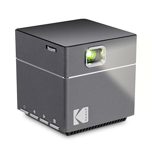Kodak DLP Cube Mini Portable Projector with 1080p Pico LED HD Quality- Rechargeable with Speakers - HDMI and Micro SD Card - for Home, Office, Movies and Gaming - Supports Android and iOS Devices