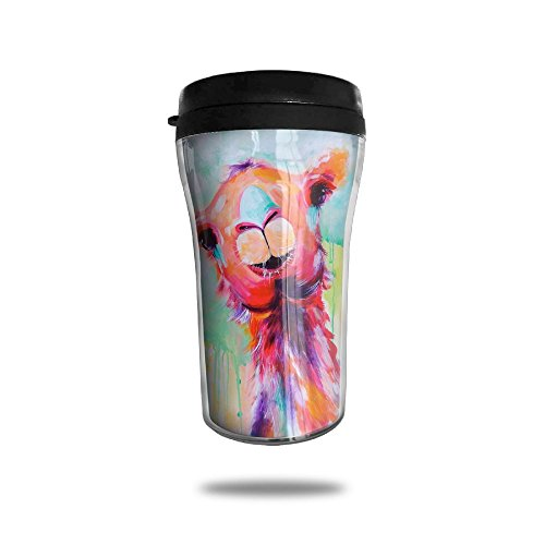 Auh22 Coffee Tumbler Curve Travel Office Mug ABS Llama Funny Watercolor Painting Coffee Cup Insulated Carry Hand Cup (Mug Curve)