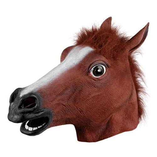 Funny Brown Horse Head Mask Halloween Party Head Mask Latex Animal Costume Prop Gangnam Style for Halloween Tricky Props