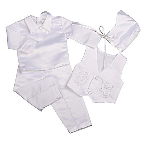 Infant Boys 1 Pc Outfit - Dressy Daisy Baby Boys Baptism Christening Suit Outfit Bonnet Long Sleeves 4 Pcs Size 0-3 Months