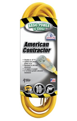Coleman Cable 01294 16/3 Contractor Extension Cord with Lighted End, 10-Feet