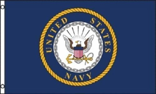 - 3x5 United States Navy Military Emblem Super Polyester Nylon Flag 3'x5' House Banner 90cm x 150cm Grommets Double Stitched Premium Quality Indoor Outdoor Pole Pennant (Brand New) 1-05-C