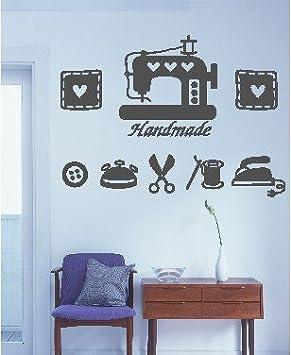 Vinilo decorativo pegatina pared, cristal, puerta (Varios colores a elegir)-maquinas coser: Amazon.es: Hogar