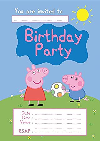 PEPPA PIG CHILDRENS BIRTHDAY PARTY INVITES INVITATIONS X 10 PACK Amazoncouk Toys Games