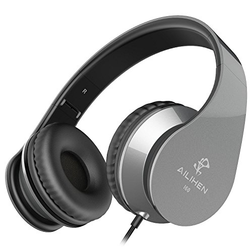 AILIHEN I60 On Ear Headphones with Microphone for iPhone iPad Laptop Tablet Android Smartphones(Grey)
