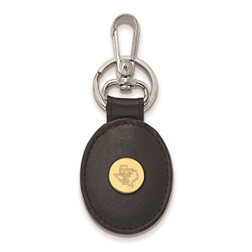 (Texas Tech University Red Raiders Black Leather Oval Key Ring (Gold Plated))