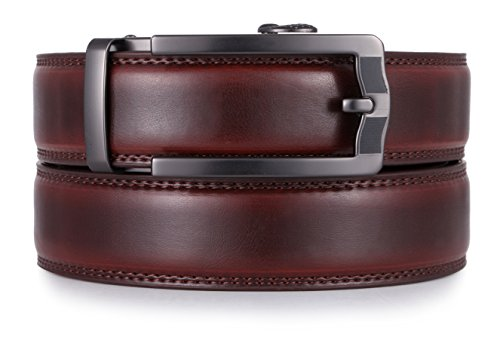 Mio Marino Ratchet Belts for Men - Genuine Leather Dress Belt - Automatic Buckle (Style 185 - Mahogany, Adjustable from 38