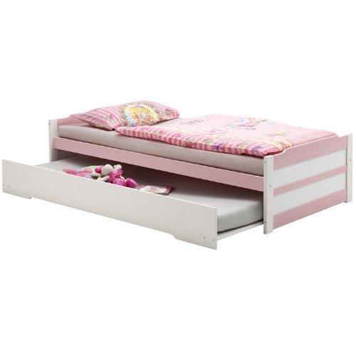 Tandembett LORENA, weiß-rosa