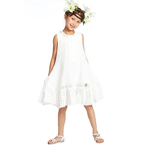 Kid Cute Ture Little Girls White Eyelet Ruffles Lace Summ...