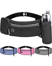 OZ SMART Running Belt Waist Bag with Hidden Water Bottle Holder, Men/Women Waist Pack with Bounce Free Technology, Reflective Strips fits Large Phone for Running, Hiking, Cycling