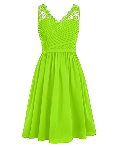 Bridesmaid Dress Short Lace Prom Dress Chiffon Evening Gown for Wedding Lime Green L