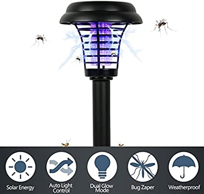 Carejoy Mata mosquitos Lampara Solar Lámpara solar para el jardín 2 en 1—Mata insectos Electrico Exterior Mosquitos Jardín Killer Lampara: Amazon.es: Jardín