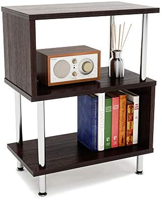 Bestier Side Table 3 Tier S-Shaped, Small Nightstand Bedside Table End Table with Storage Shelves for Bedroom, Sofa Table Coffee Table, Modern Design, Easy Assemble and Sturdy