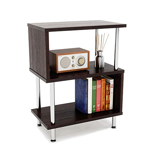 Bestier Side Table 3 Tier S-Shaped, Small Nightstand Bedside Table End Table with Storage Shelves for Bedroom, Sofa Table Coffee Table, Modern Design, Easy Assemble and Sturdy (Tables End Storage Modern With)