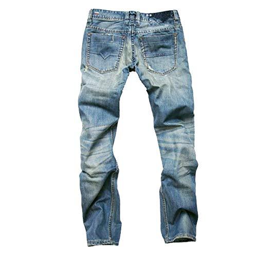 Fit Blu Nostalgic Cotton Pants Denim Ufige Straight Uomo Abbigliamento Nne Slim Pantaloni Holes Jeans Cher w1x688B
