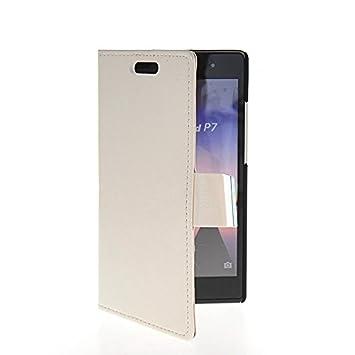 CASEPRADISE Cartera Carcasa del tirón la cubierta Cuero protectora Caso Tapa Huawei Ascend P7 Blanco: Amazon.es: Electrónica