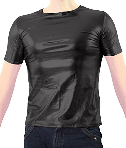[Marvoll Unisex Shiny Party Clubbing Dance Gay Stag / Hen T Shirt (Small, Black)] (Spider Girl Bodysuit Costume Small)