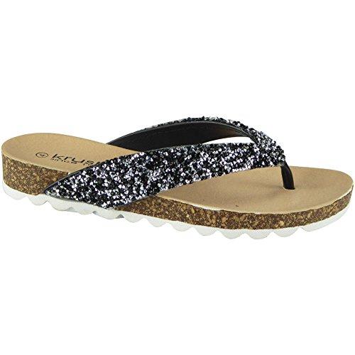 Taille Chappal Chaussures Ons Sandales Noir De Glissement Femmes Dames La Appartements Mode De Regard Entredoigt D'été 3 8 Fort 6wYfq4XZ