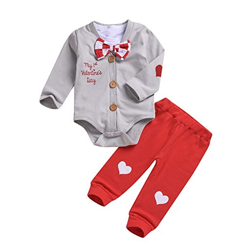 Hearts Trouser - BAOBAOLAI Baby My 1st Valentine's Day Bowtie Long Sleeve Romper + Short Sleeve White Onesie + Love Hearts Trousers Pants Set