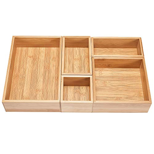 - 5-Piece Bamboo Drawer Organizer Set, Premium Bamboo Storage Box Kit, Expandable Drawer Divider for Office, Bathroom & Home