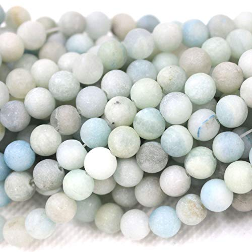 - Tacool Natural Gemstone Beads Round Aquamarine Matte 6mm for DIY Necklace Jewelry Making Beads