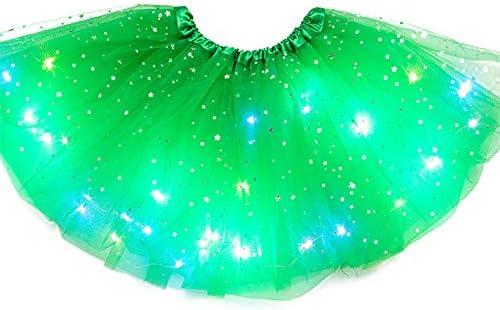 Falda de baile LED,Falda corta de tul Magic Light Princess Falda ...