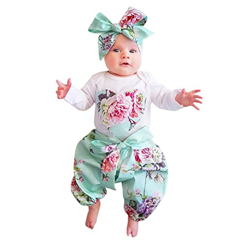 QinYi Clearance!!3PCs Newborn Baby Girl Floral Rompers Long Sleeve Infant Clothes Pants Headband Outfits Set Costume (0-6M, Blue) -