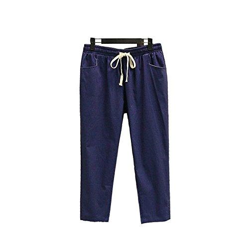 Eleganti Fashion Di Elastica Vita Carota Monocromo Trousers Pantalone Dunkelblau Adelina Damigella Tempo Donna Pantalone Pants Pantaloni Libero Estivi Coulisse nAIqgf