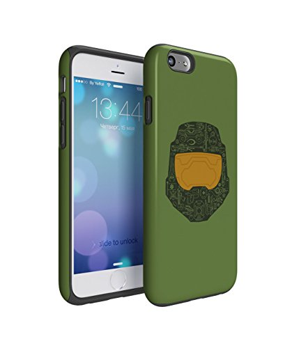 Master Chief Halo 2 Piece Hard Plastic + Shock Absorbing TPU Bumper Tough Case Cover Shell For iPhone (Iphone 6 Master Chief Case)