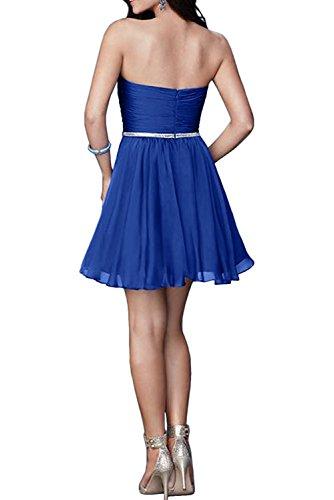 Cocktailkleider Herzausschnitt Rock Abschlussballkleider Mini Marie Partykleider Blau Braut Royal La Traegerlos 7qfAZ