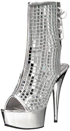 Pleaser Women's Del1018dbm/s/sch Ankle Bootie, Mirrors/SLV Chrome, 5 M US