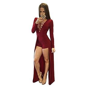 d679ba871ac4 SODIAL Women s New Fashion Split Jumpsuit Lace Up V Neck Bandage Bodysuit  Sexy Long Sleeve Hollow