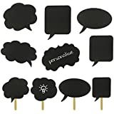 10 in 1 Wedding Photo Booth Party Props Chalk Signs Speech Thought Bubbles on a Stick - Bridal Shower Birthday Parties Room Personalise DIY Decorations Prom Photography - 10PCS by iXium??