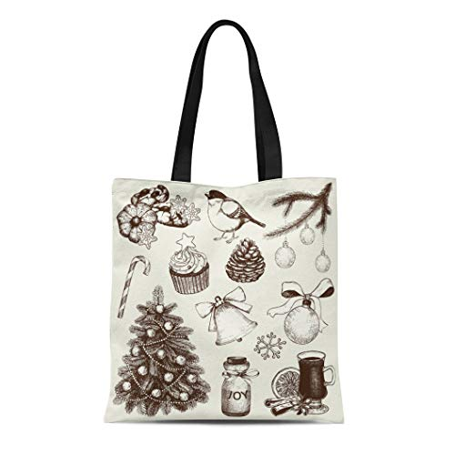 Semtomn Canvas Tote Bag Shoulder Bags Orange Jar Collection of Ink Christmas and New Year Women's Handle Shoulder Tote Shopper Handbag