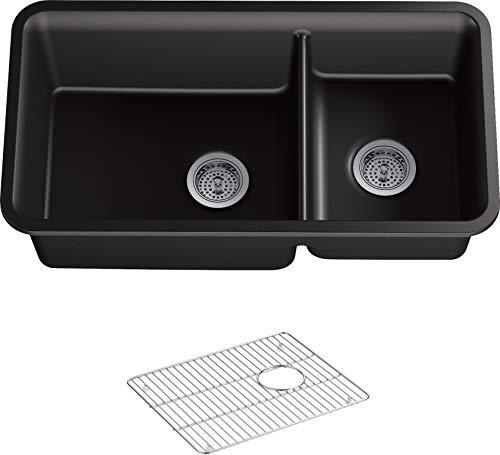 Kohler K-8204-CM1 Cairn Undermount Double Bowl Kitchen Sink with Basin Rack, Large/Medium, Matte Black