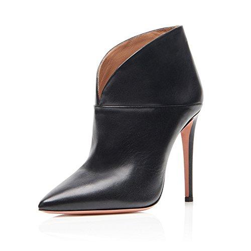 KJJDE Mujer Alta Tacón Mejorar Botas TLJ-3555 Dedo Puntiagudo Puntera Abierta Tacón Alto De Sexy Fiesta Baile Zapatos Black