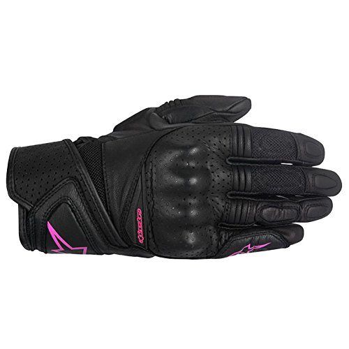 Alpinestars Stella Baika Womens Leather Motorcycle Gloves - Black/Pink - X-Small