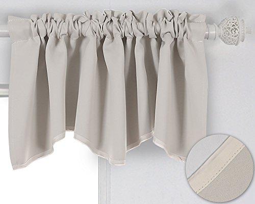 Deconovo Solid Color Blackout Short Curtains Scalloped Valance Rod Pocket Valance Shabby for Bathroom 52 X 18 Inch Light Beige 1 Panel - Bathroom Curtain Short