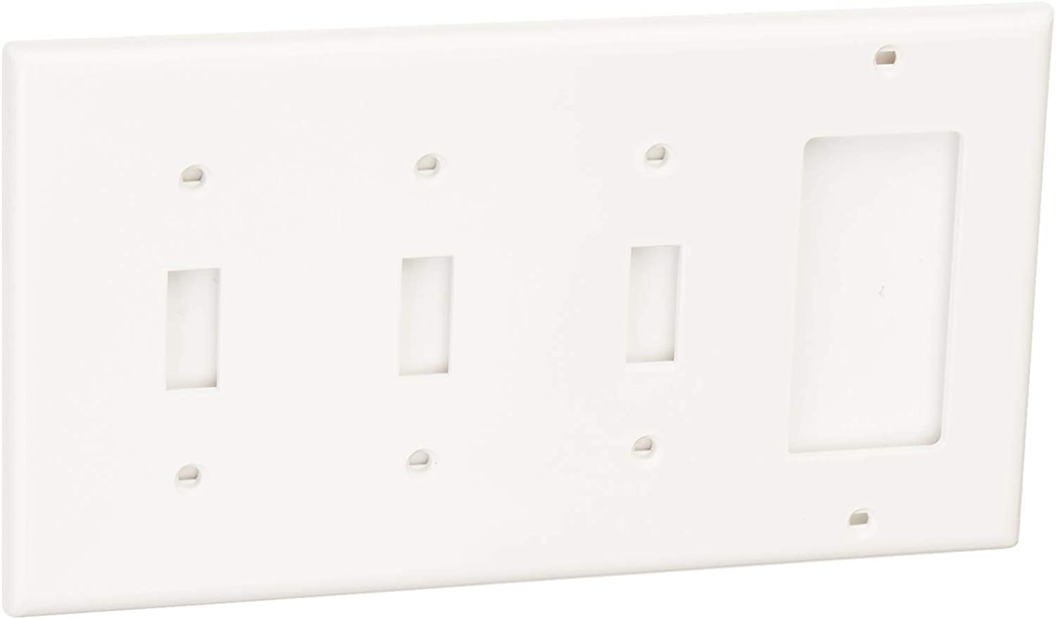 Leviton 80732-W 4-Gang 3-Toggle 1-Decora/GFCI Device Combination Wallplate, Standard Size, Thermoplastic Nylon, Device Mount, White