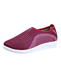 ANOKA Womens Ladies Trainers Sale Mesh Flat with Cotton Casual Walking Stripe Sneakers Loafers Soft Shoes