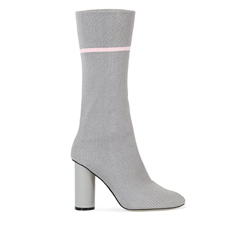 Womens Pull On Stripe Knitted Sock Fit Block Heel Ankle Boots in Grey UK 3-8 ymWyxCMxEm